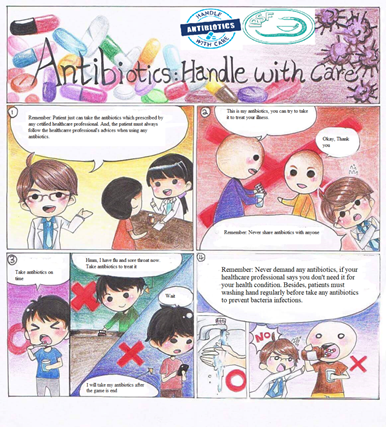 Example of the Four Frame Comic Poster with answers.
