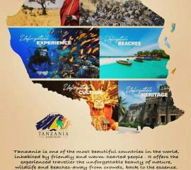 Tanzania is one of the most beautiful countries in the world, inhabited by friendly and warm-hearted people. It offers the experienced traveller the unforgettable beauty of nature, wildlife and beaches away from crowds, back to the essence.  The spirit of Africa, simple and Inspiring.   'Tanzania Unforgettable'